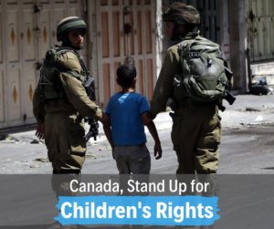 """Two soldiers with a boy between them move down a street with their backs to us. Underneath, text says """"Canada, stand up for children's rights."""""""