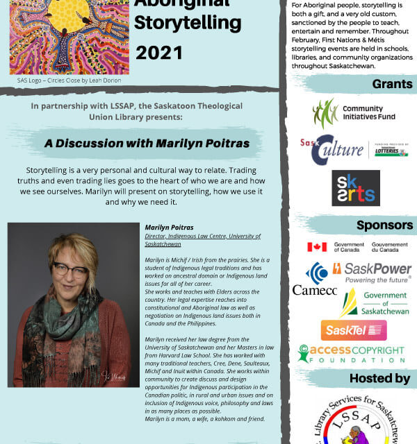 Saskatchewan Aboriginal Storytelling 2021: A Discussion with Marilyn Poitras