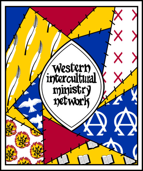 Yellow, blue and red patchwork drawing with Western Intercultural Ministry Network in the middle.