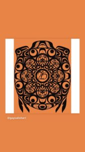 """West Coast Indigenous art, black on an orange background, with """"215"""" in the middle of the circle, supported. Art by Chase Gray, for non profit/ educational use only. www.gaysalishart.com"""
