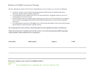 A photo version of a petition to ban transphobic and homophobic conversion therapy.