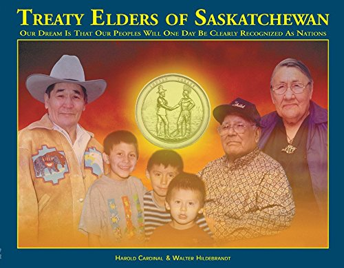 "Art showing children and elders under a Treaty medal, with the title ""Treaty Elders of Saskatchewan""."